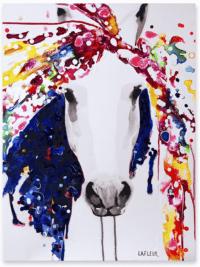 Fondation En Coeur - Toile d'un cheval multicolore