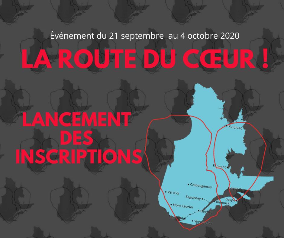 Graphique imagé d'une route de cœur traversant les villes du Québec
